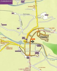 Plan de Saint Jean Pied de Port et gîte Ultreïa